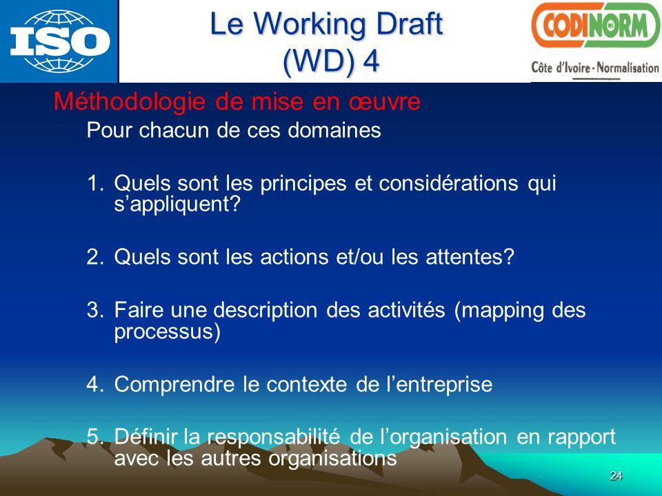 Le Working Draft (WD) 4 Méthodologie de mise en œuvre