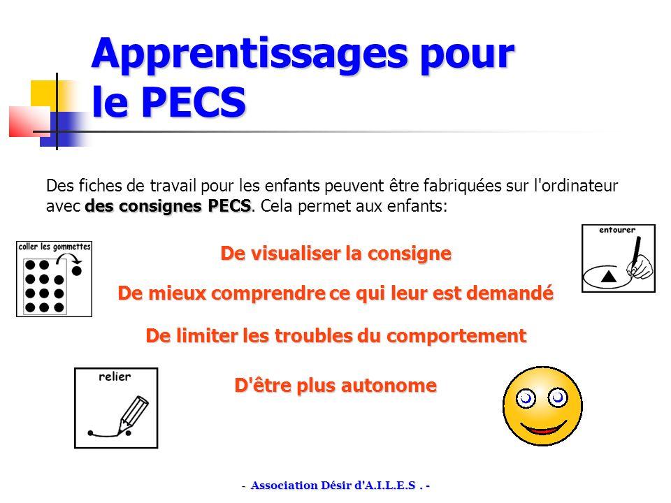 Apprentissages pour le PECS