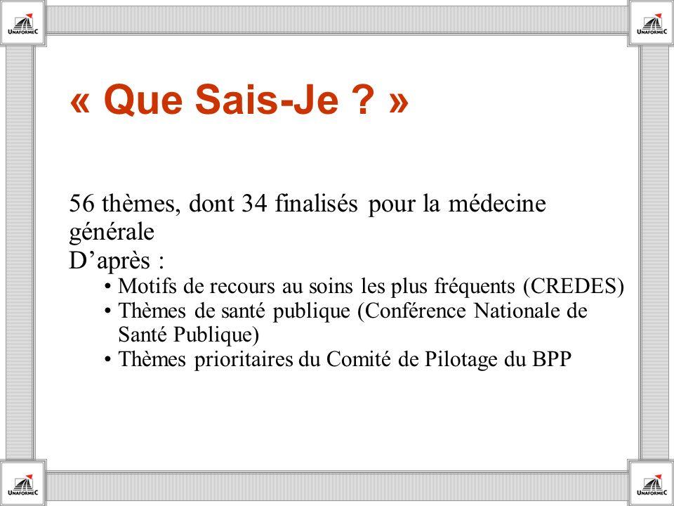 « Que Sais-Je » 56 thèmes, dont 34 finalisés pour la médecine générale. D'après : Motifs de recours au soins les plus fréquents (CREDES)