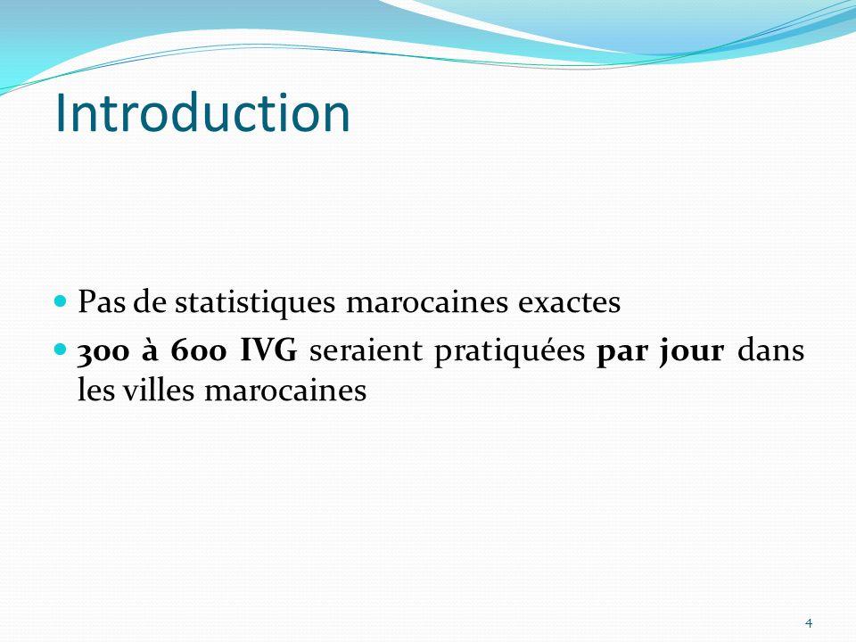 Introduction Pas de statistiques marocaines exactes