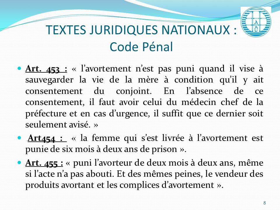 TEXTES JURIDIQUES NATIONAUX : Code Pénal