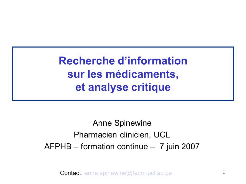 Recherche d'information sur les médicaments, et analyse critique