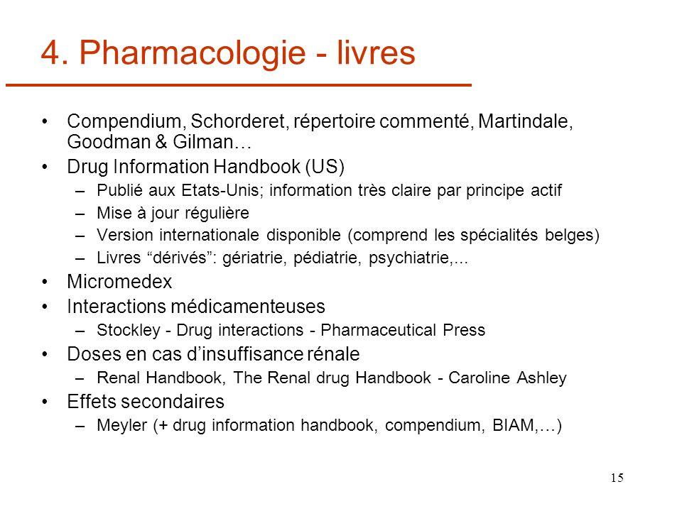 4. Pharmacologie - livres