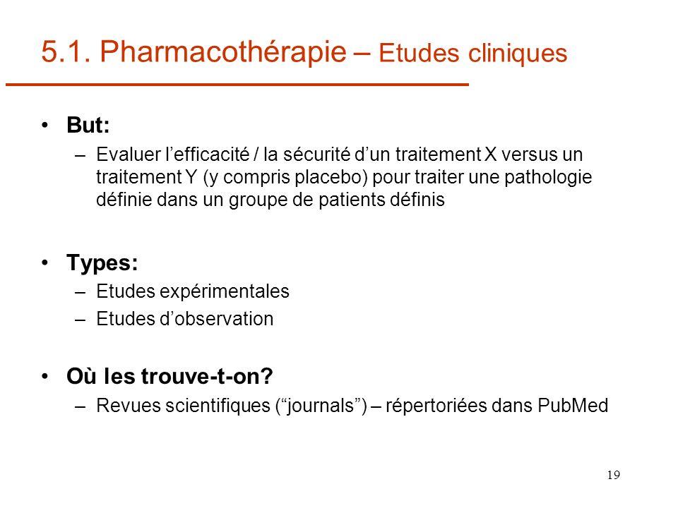 5.1. Pharmacothérapie – Etudes cliniques