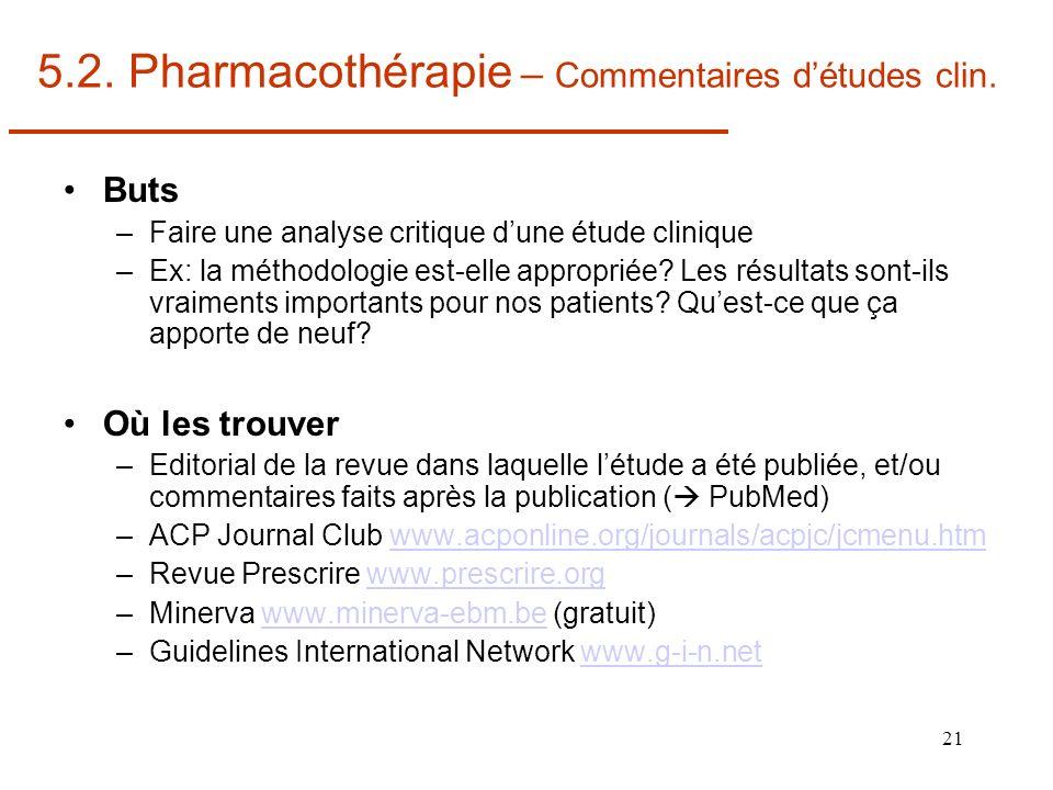 5.2. Pharmacothérapie – Commentaires d'études clin.