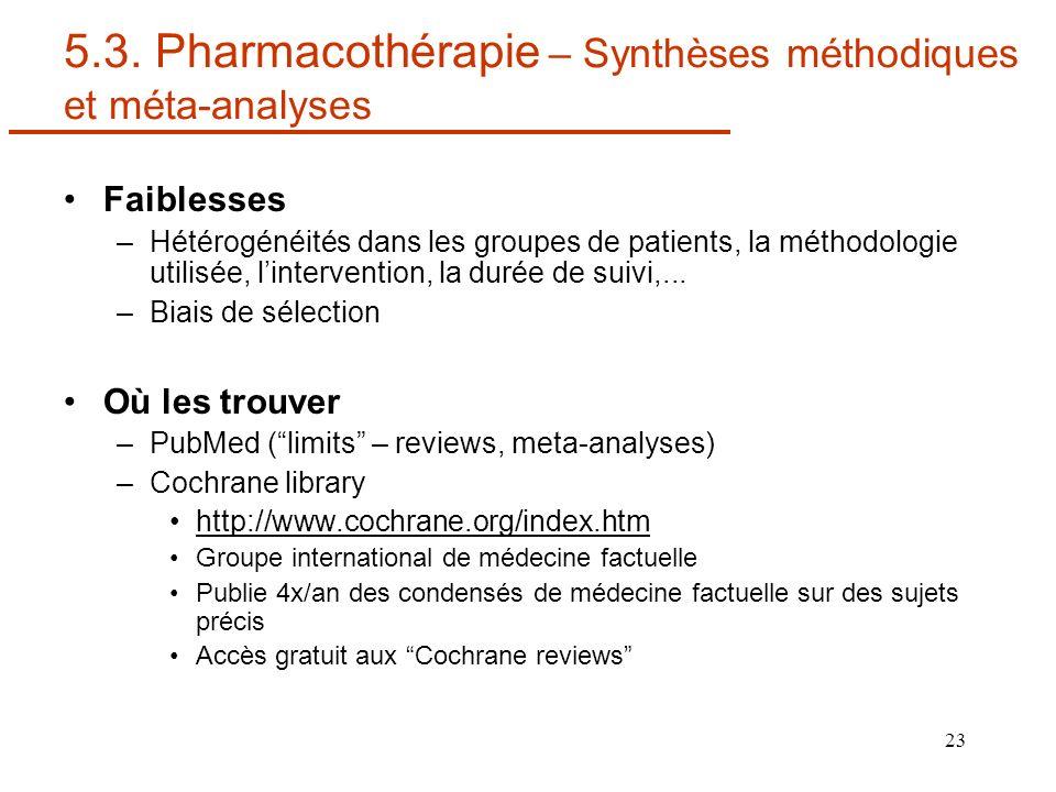 5.3. Pharmacothérapie – Synthèses méthodiques et méta-analyses