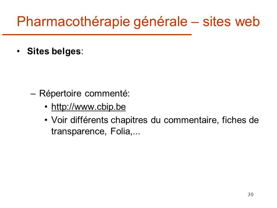 Pharmacothérapie générale – sites web