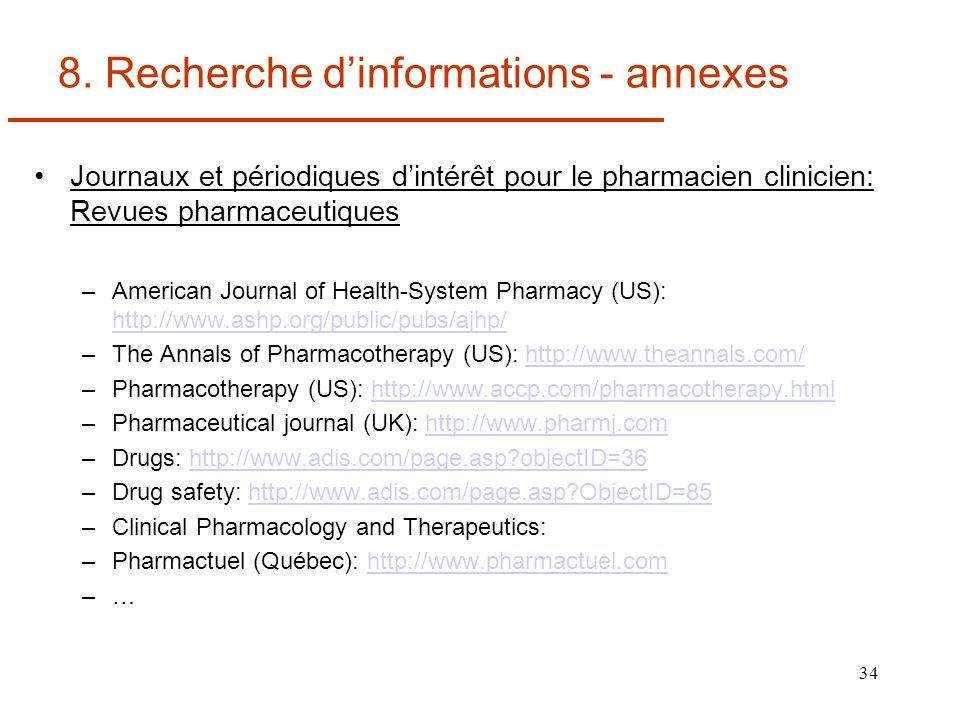 8. Recherche d'informations - annexes
