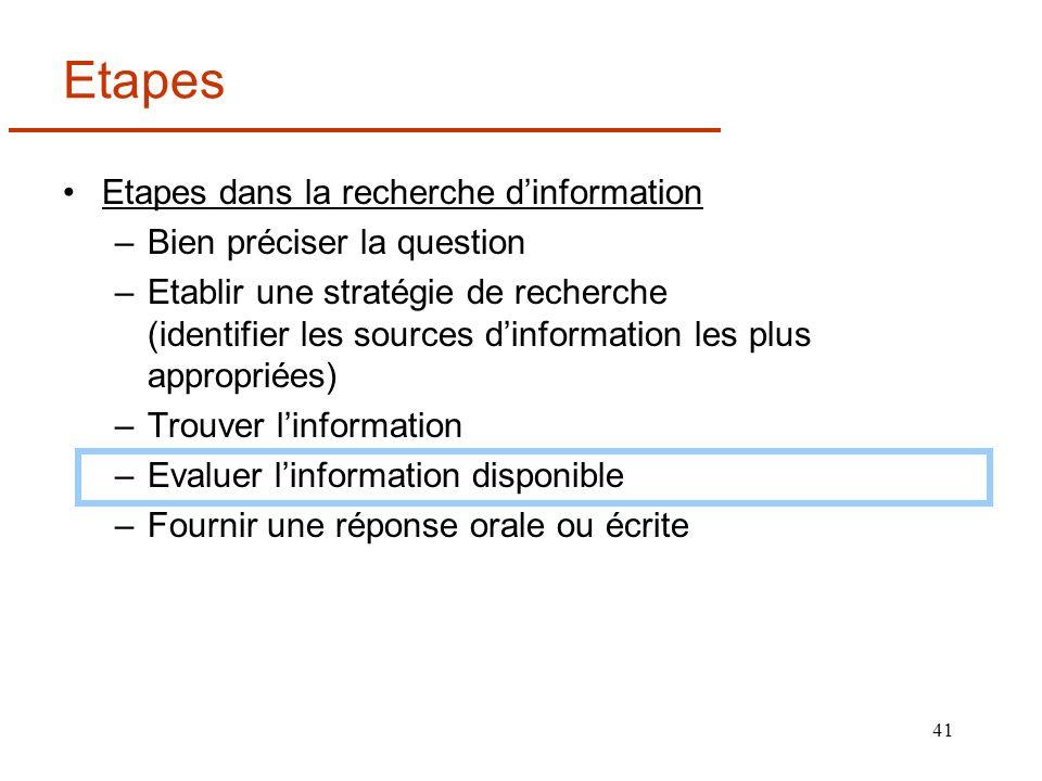 Etapes Etapes dans la recherche d'information