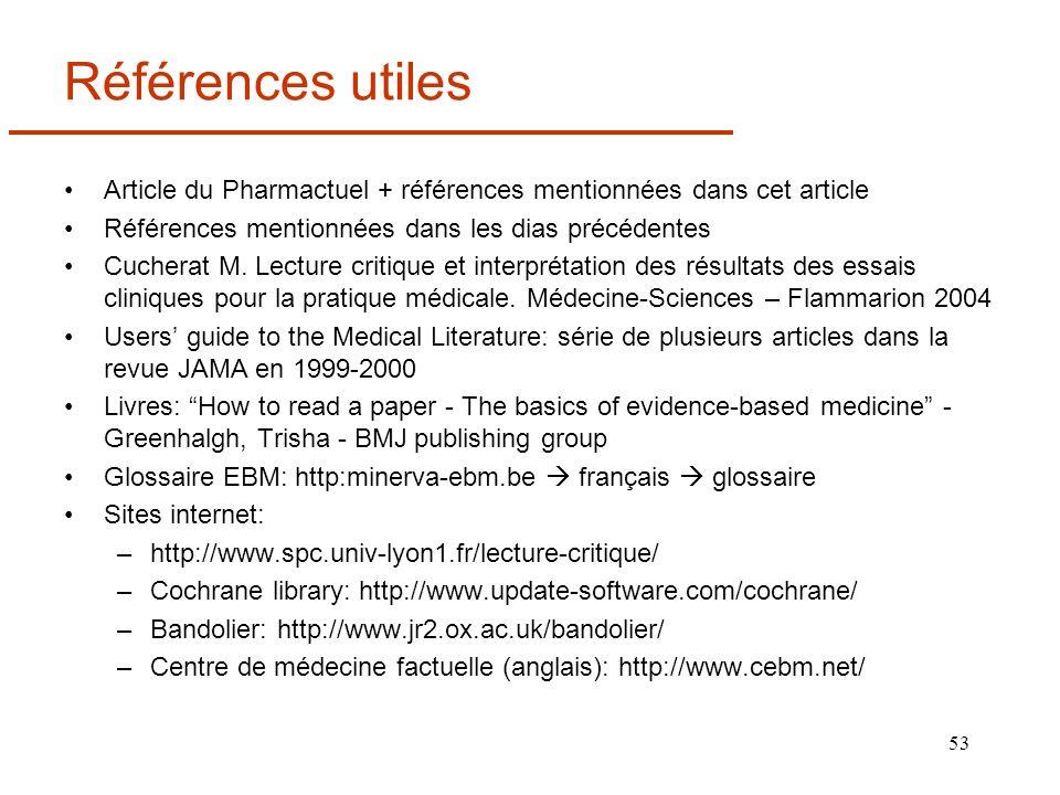 Références utiles Article du Pharmactuel + références mentionnées dans cet article. Références mentionnées dans les dias précédentes.