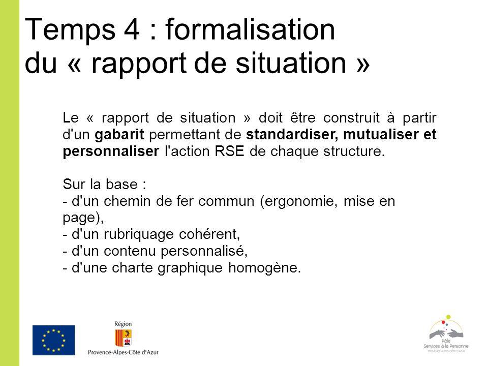 Temps 4 : formalisation du « rapport de situation »