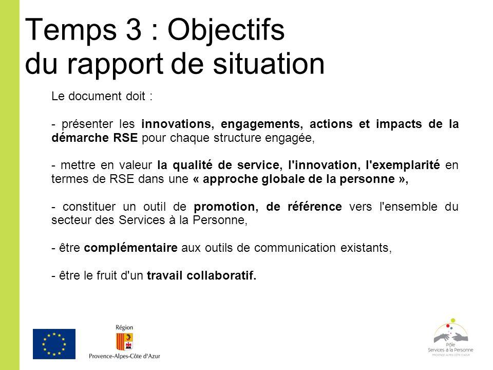 Temps 3 : Objectifs du rapport de situation