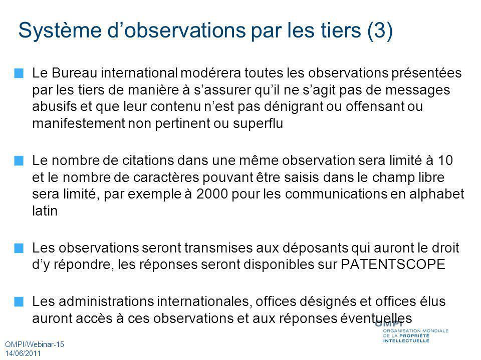Système d'observations par les tiers (3)