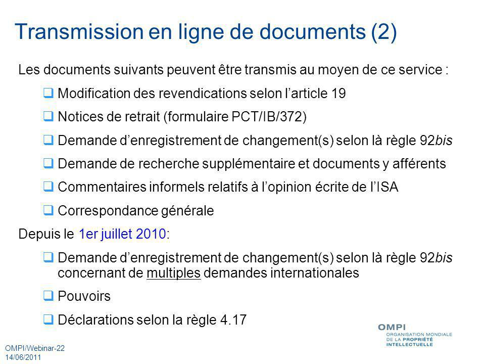 Transmission en ligne de documents (2)