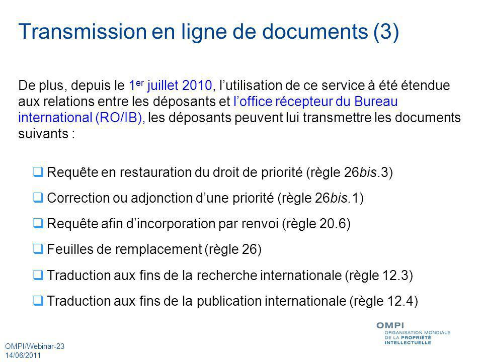 Transmission en ligne de documents (3)
