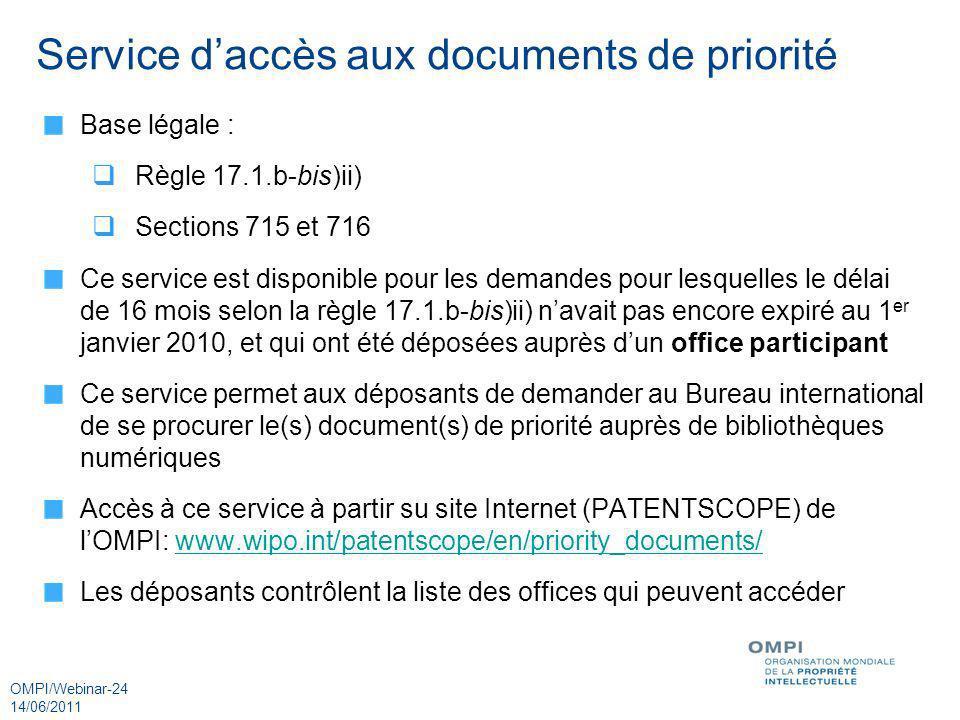 Service d'accès aux documents de priorité