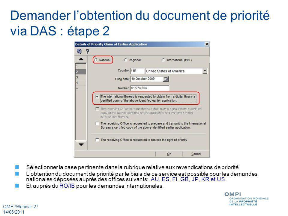 Demander l'obtention du document de priorité via DAS : étape 2