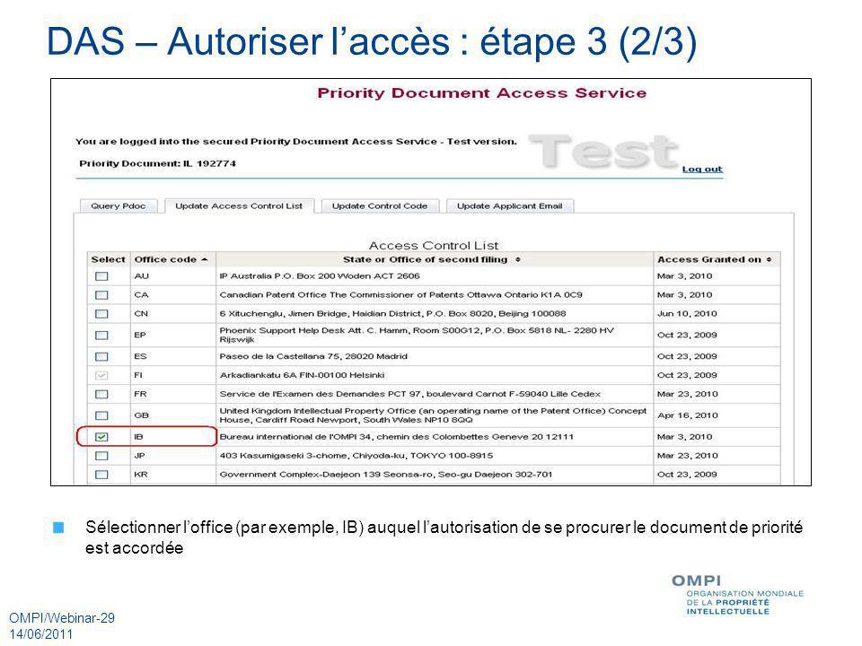 DAS – Autoriser l'accès : étape 3 (2/3)