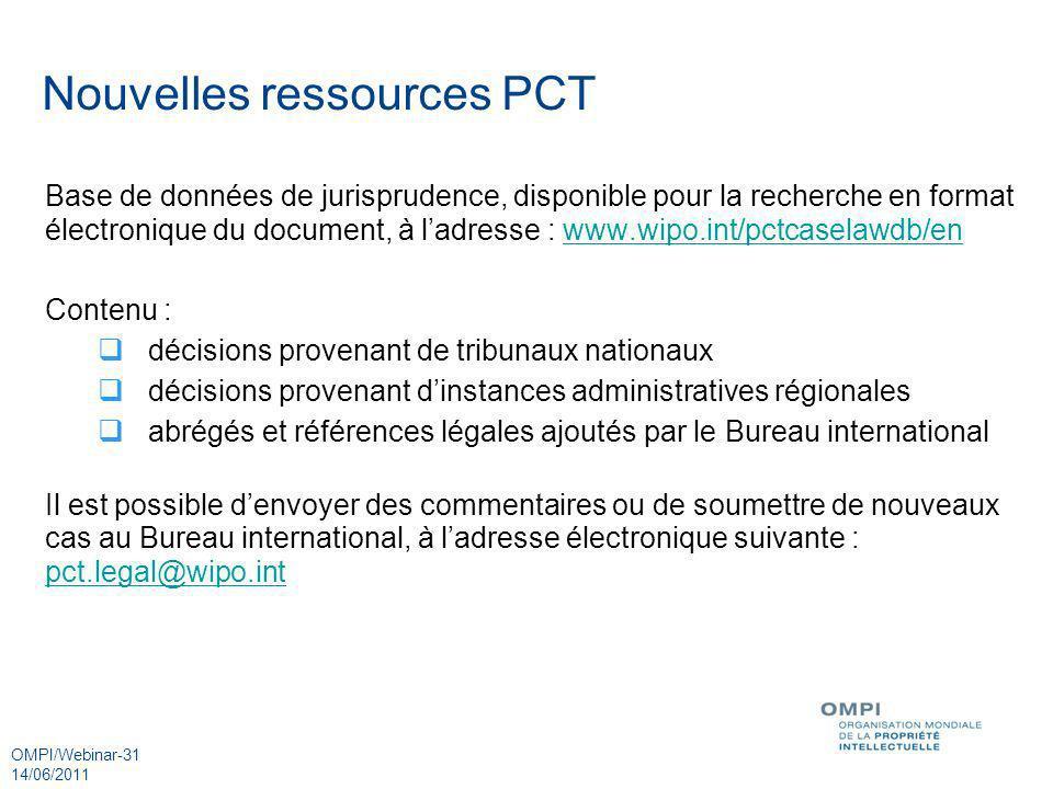 Nouvelles ressources PCT