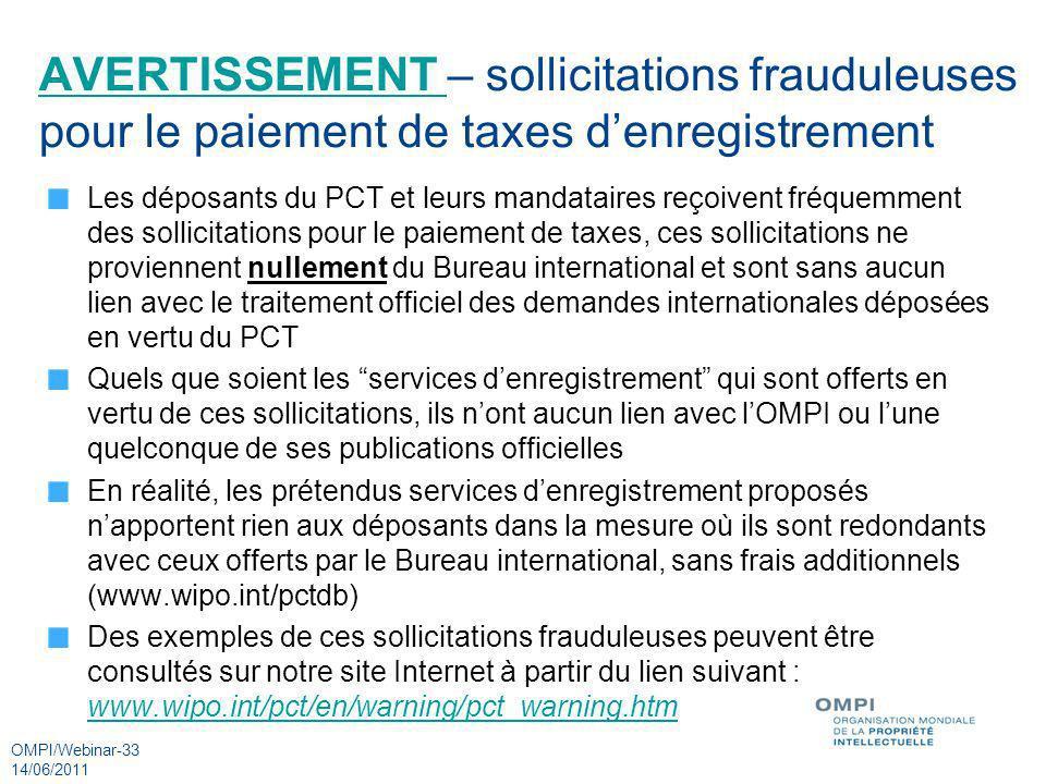 AVERTISSEMENT – sollicitations frauduleuses pour le paiement de taxes d'enregistrement