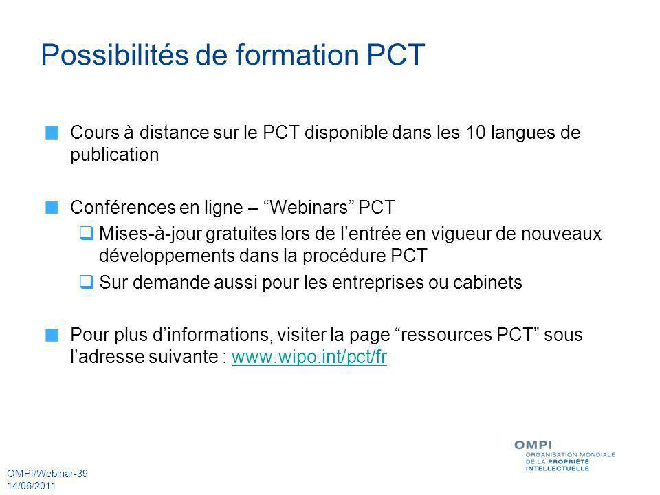 Possibilités de formation PCT