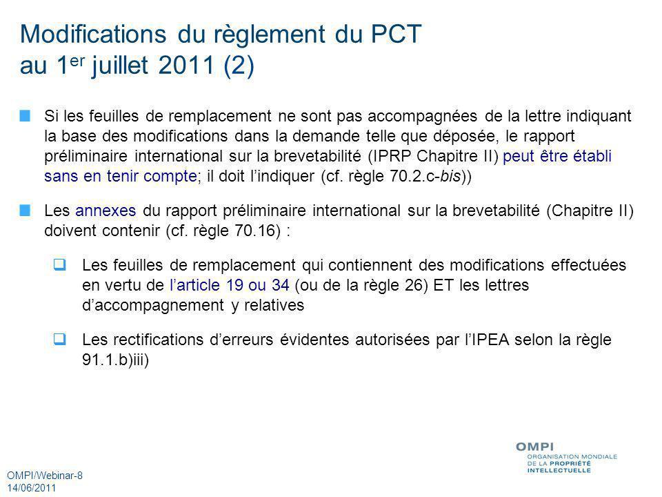 Modifications du règlement du PCT au 1er juillet 2011 (2)