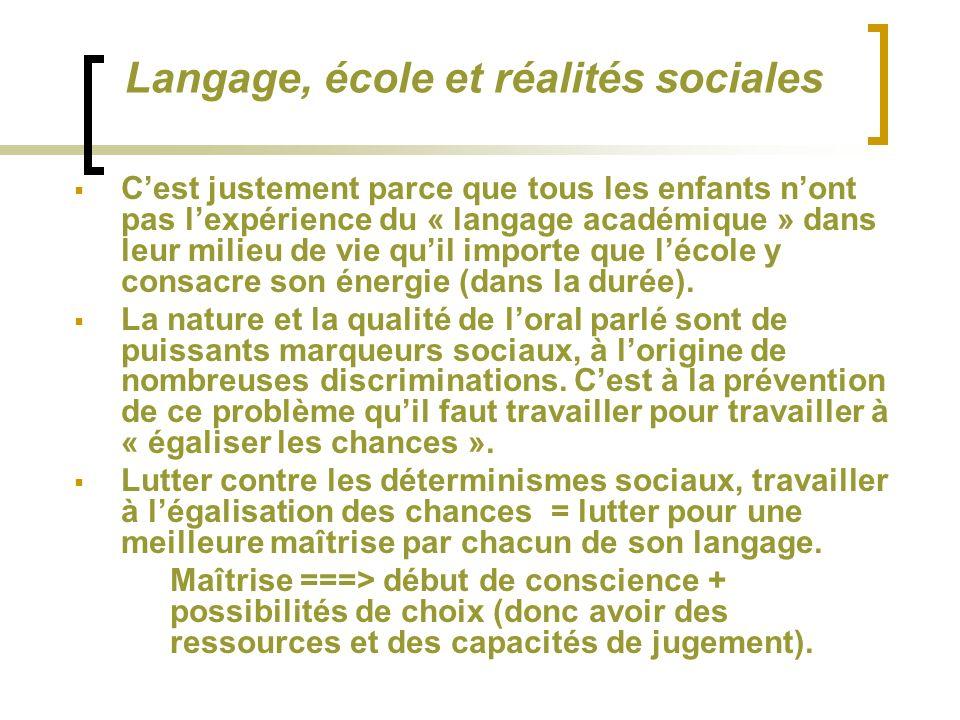 Langage, école et réalités sociales