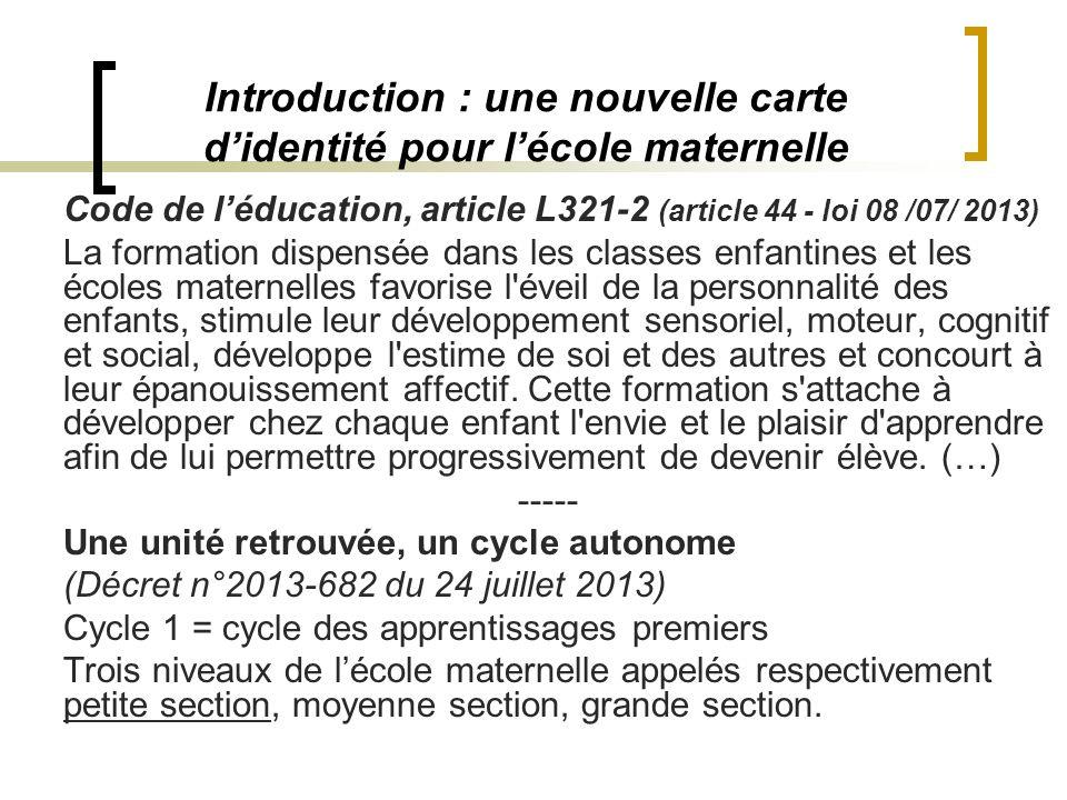 Introduction : une nouvelle carte d'identité pour l'école maternelle