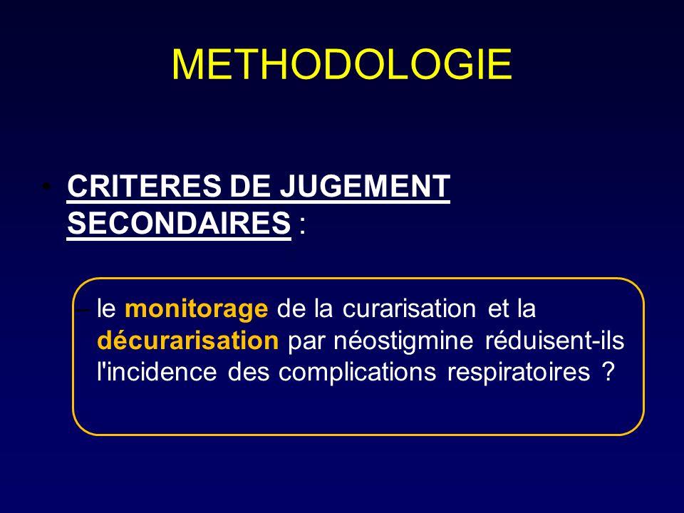 METHODOLOGIE CRITERES DE JUGEMENT SECONDAIRES :