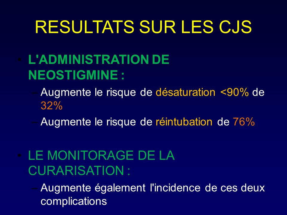 RESULTATS SUR LES CJS L ADMINISTRATION DE NEOSTIGMINE :