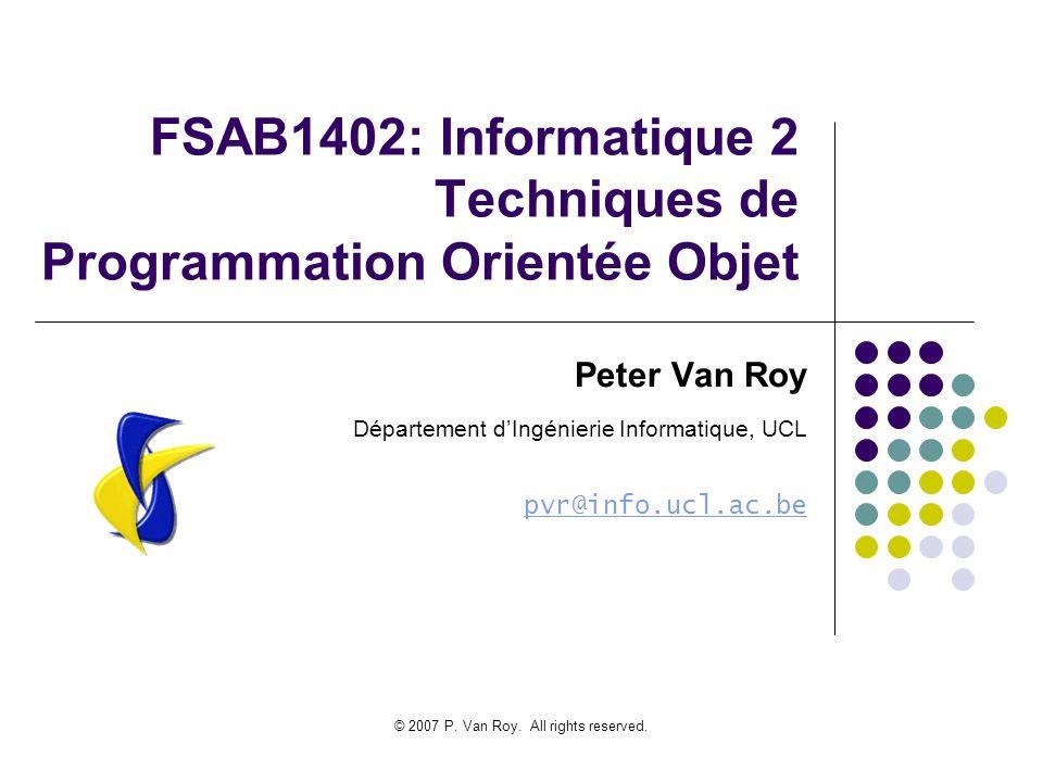 FSAB1402: Informatique 2 Techniques de Programmation Orientée Objet