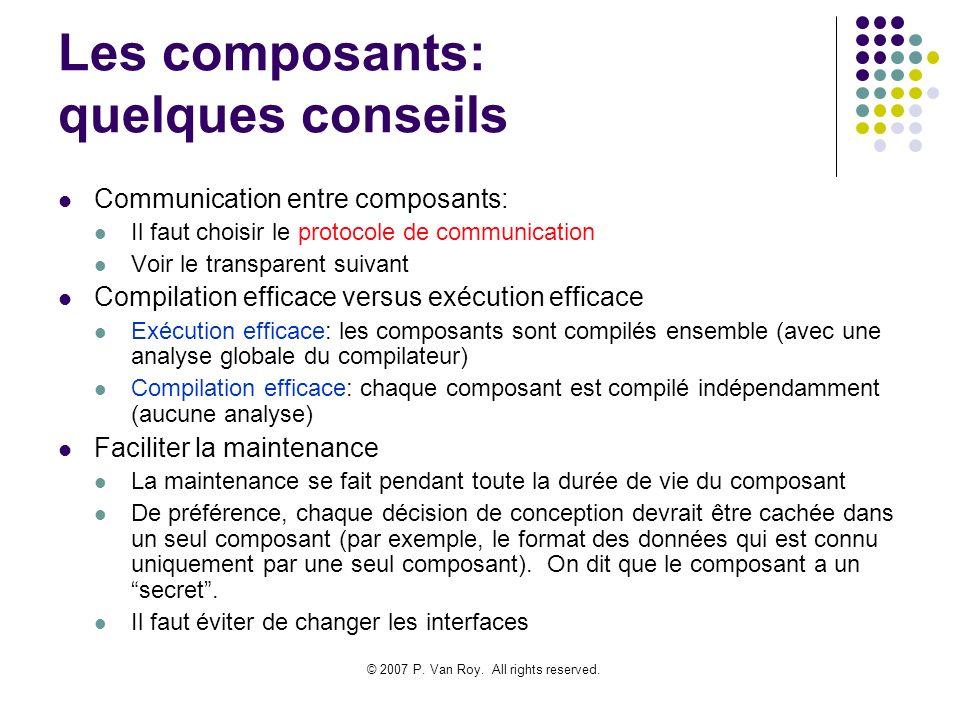 Les composants: quelques conseils
