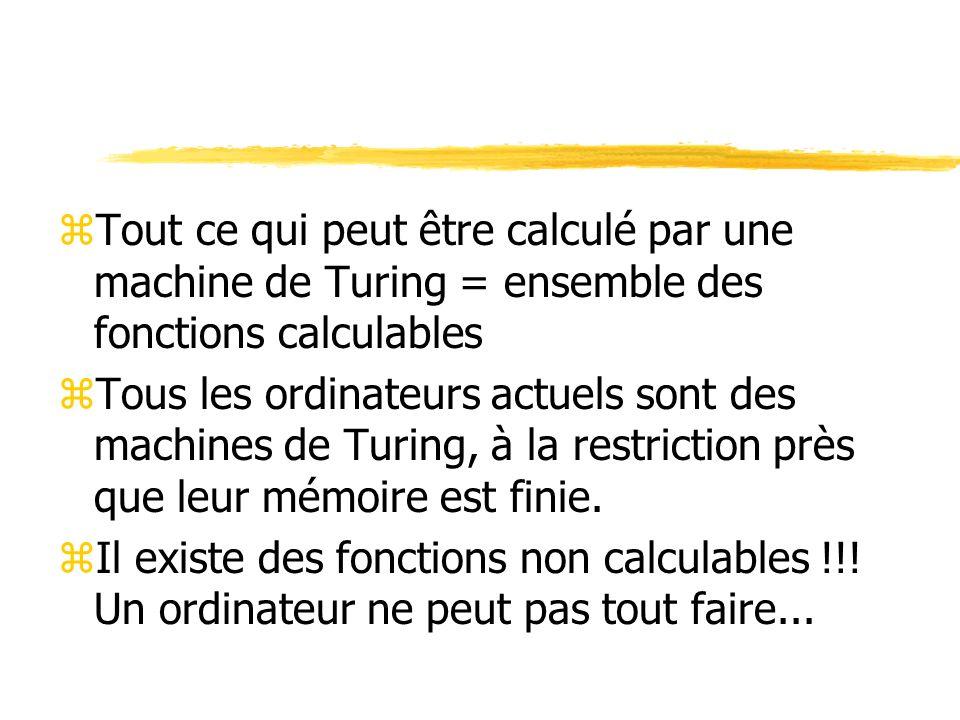 Tout ce qui peut être calculé par une machine de Turing = ensemble des fonctions calculables