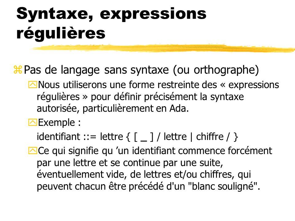 Syntaxe, expressions régulières
