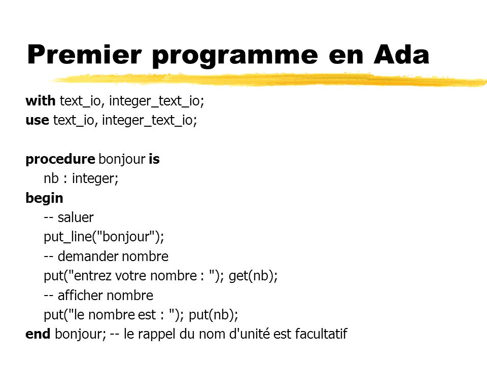 Premier programme en Ada
