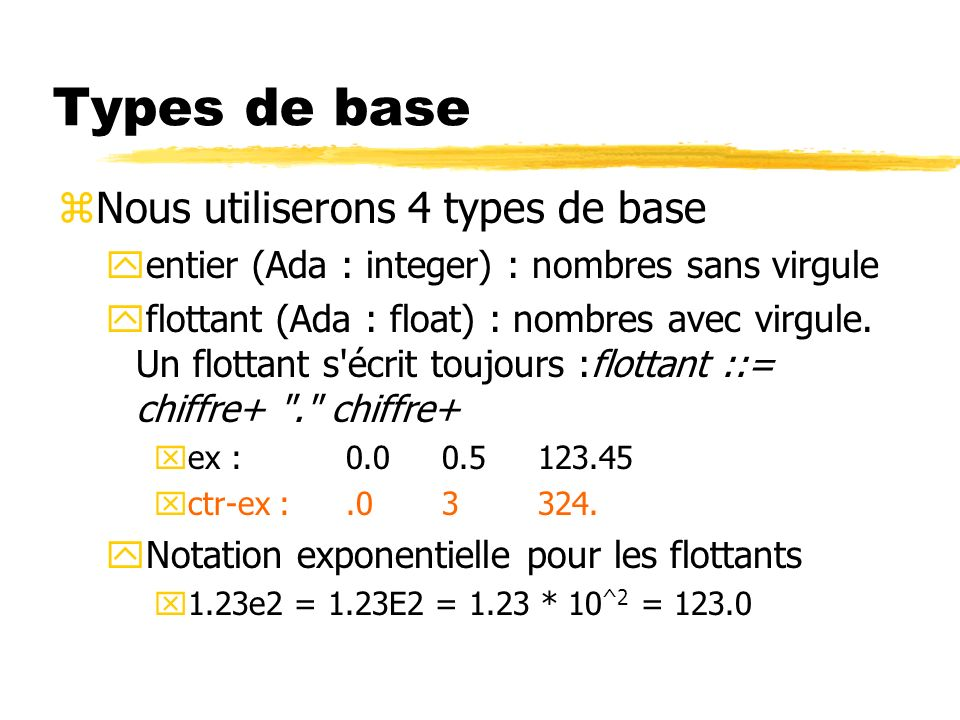 Types de base Nous utiliserons 4 types de base