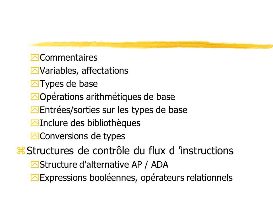 Structures de contrôle du flux d 'instructions