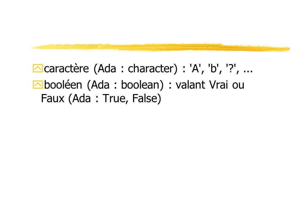 caractère (Ada : character) : A , b , , ...