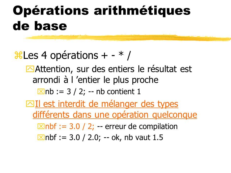Opérations arithmétiques de base