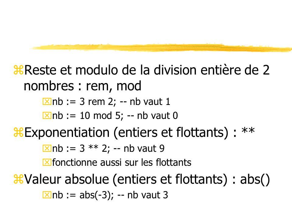 Reste et modulo de la division entière de 2 nombres : rem, mod