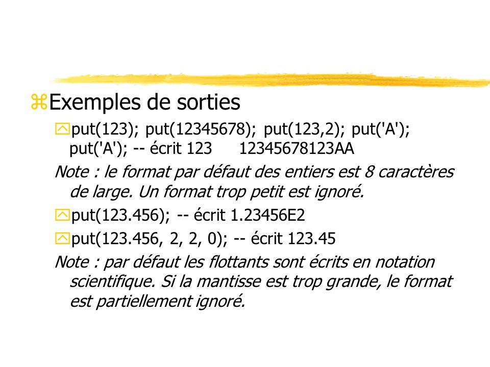 Exemples de sorties put(123); put(12345678); put(123,2); put( A ); put( A ); -- écrit 123 12345678123AA.