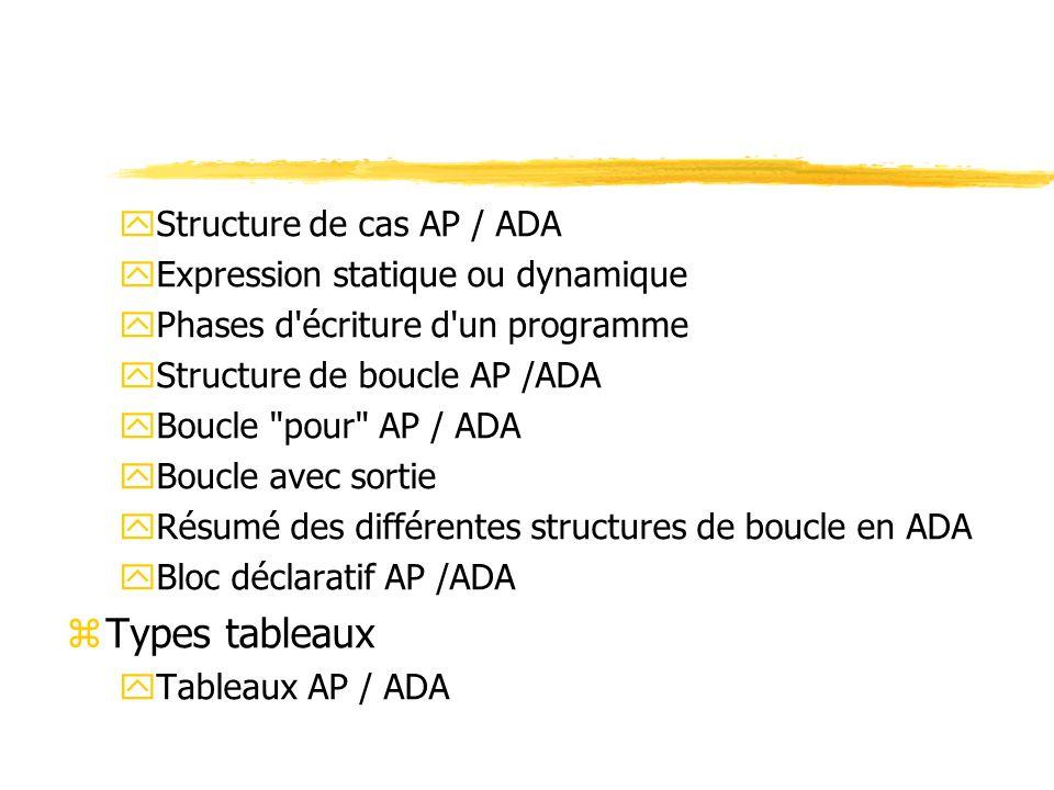 Types tableaux Structure de cas AP / ADA