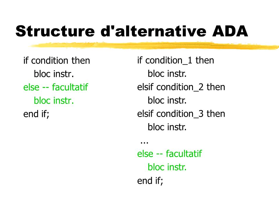 Structure d alternative ADA