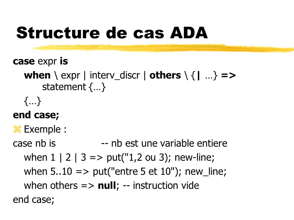 Structure de cas ADA case expr is