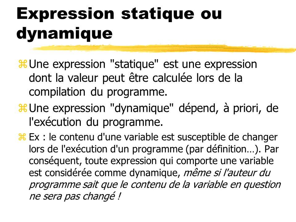 Expression statique ou dynamique