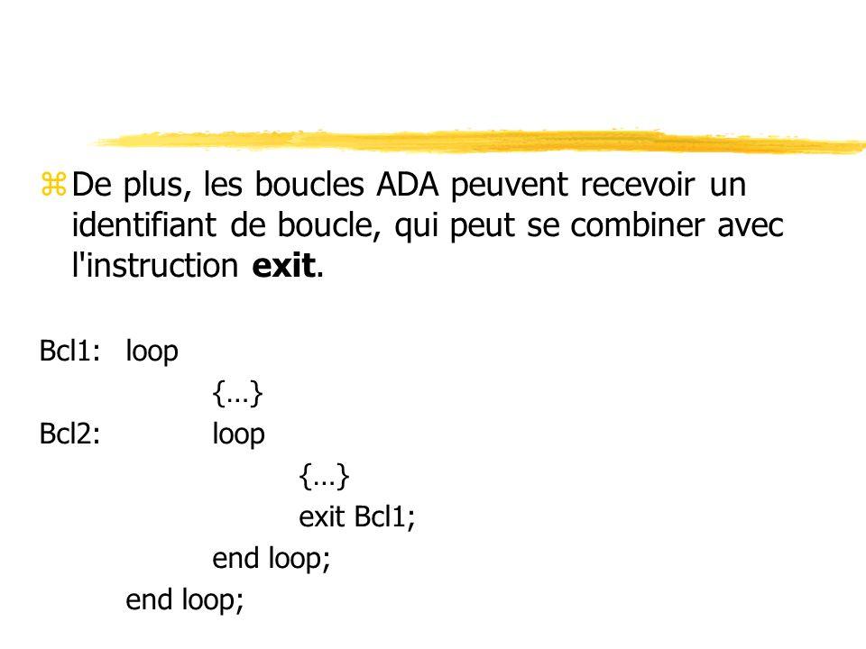 De plus, les boucles ADA peuvent recevoir un identifiant de boucle, qui peut se combiner avec l instruction exit.