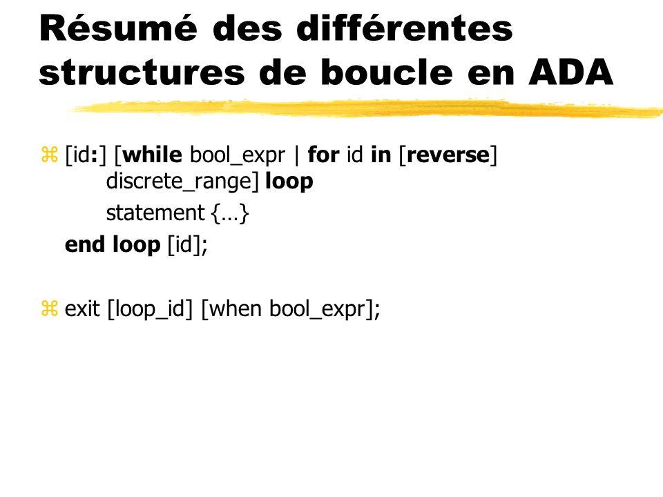 Résumé des différentes structures de boucle en ADA