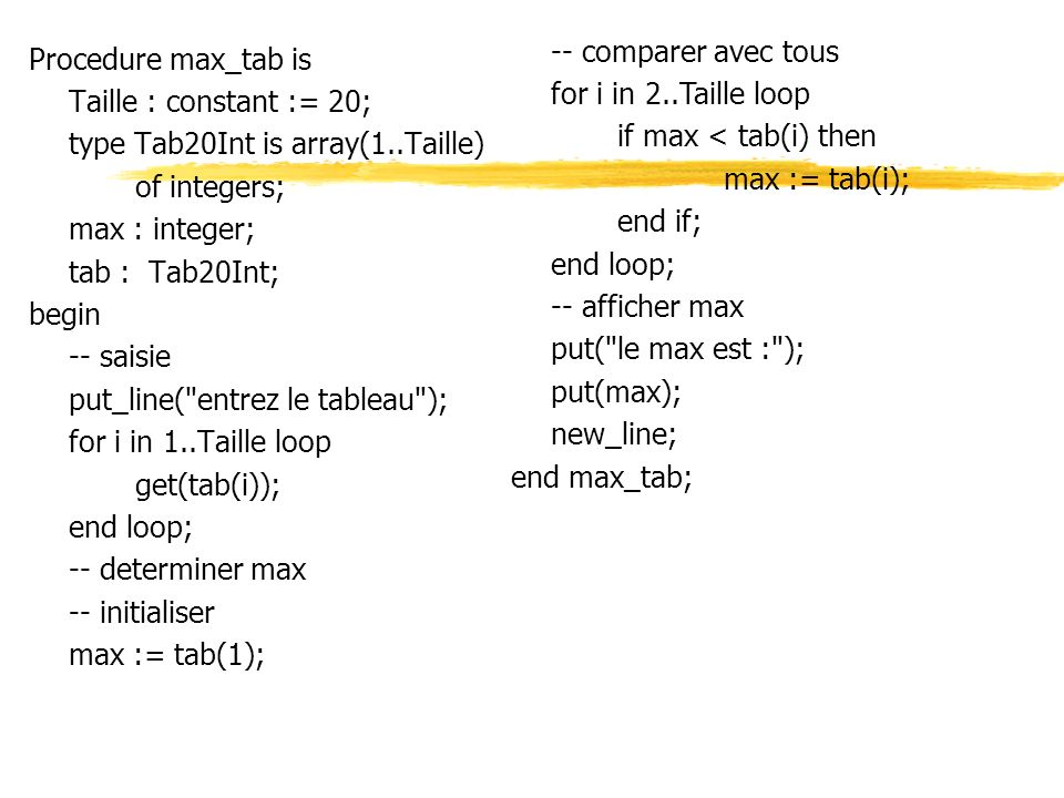 -- comparer avec tous for i in 2..Taille loop. if max < tab(i) then. max := tab(i); end if; end loop;