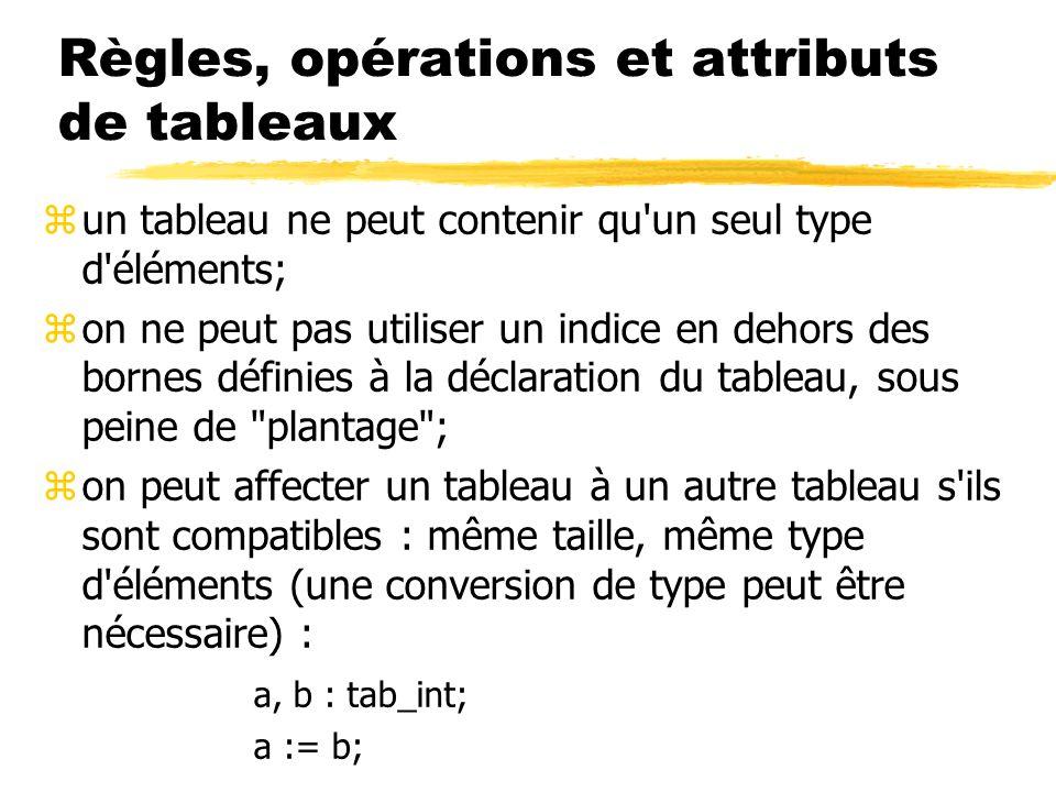 Règles, opérations et attributs de tableaux