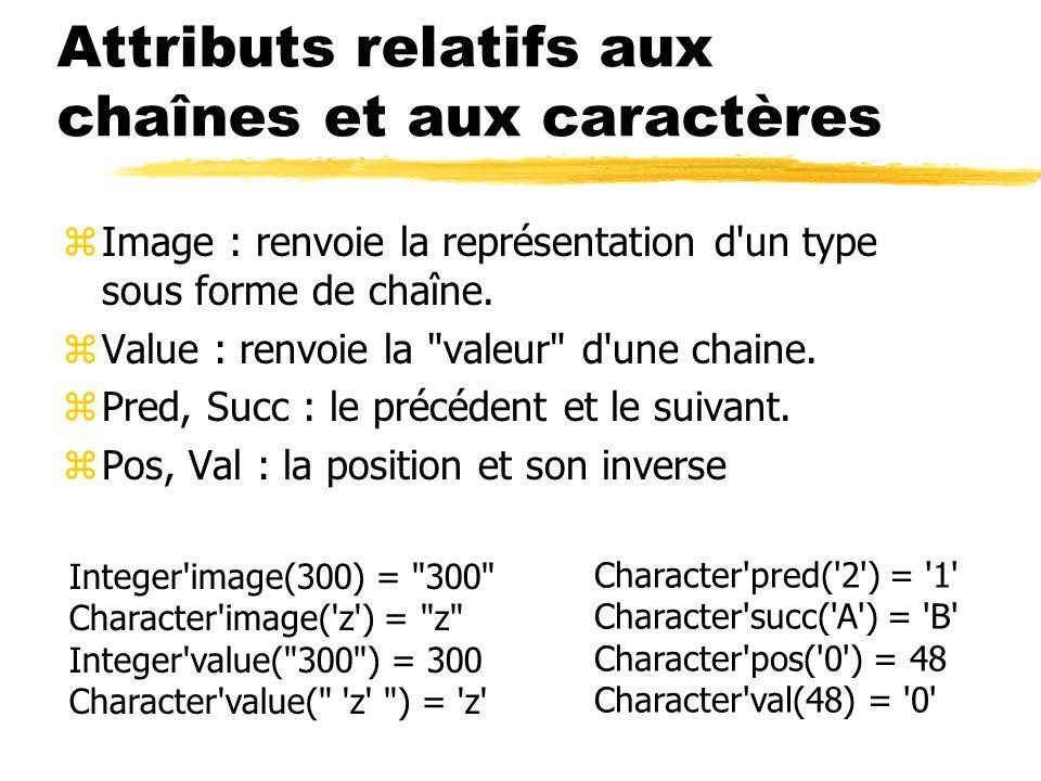 Attributs relatifs aux chaînes et aux caractères